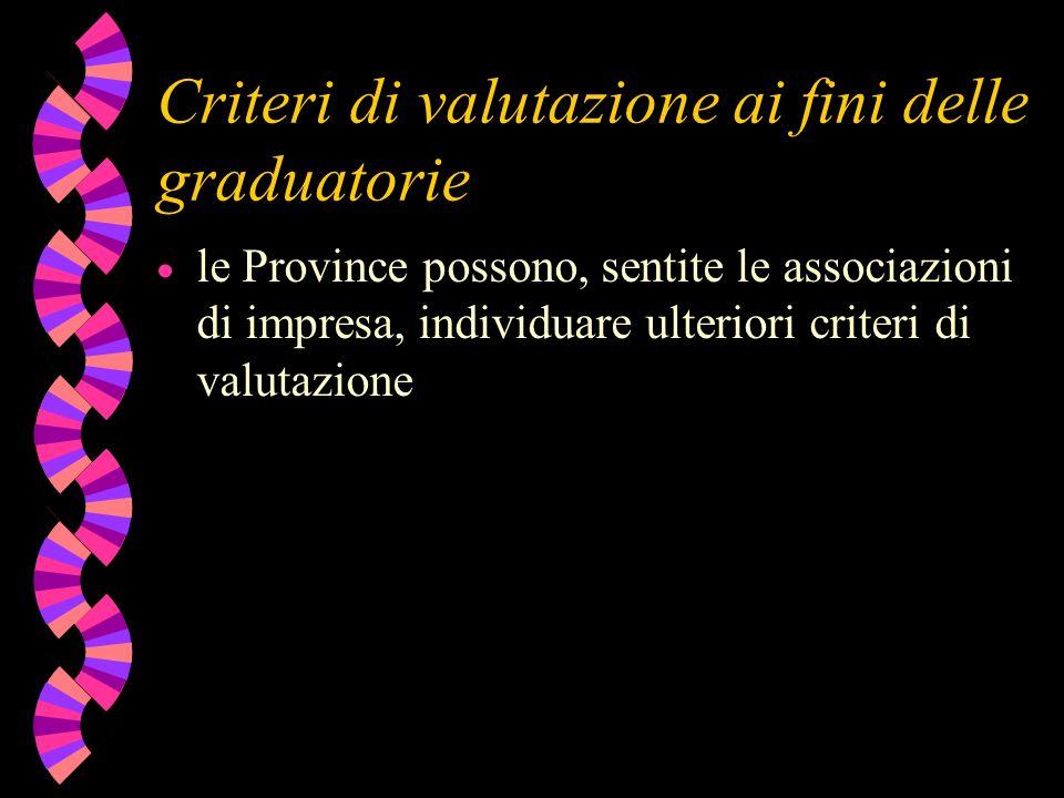 Criteri di valutazione ai fini delle graduatorie le Province possono, sentite le associazioni di impresa, individuare ulteriori criteri di valutazione