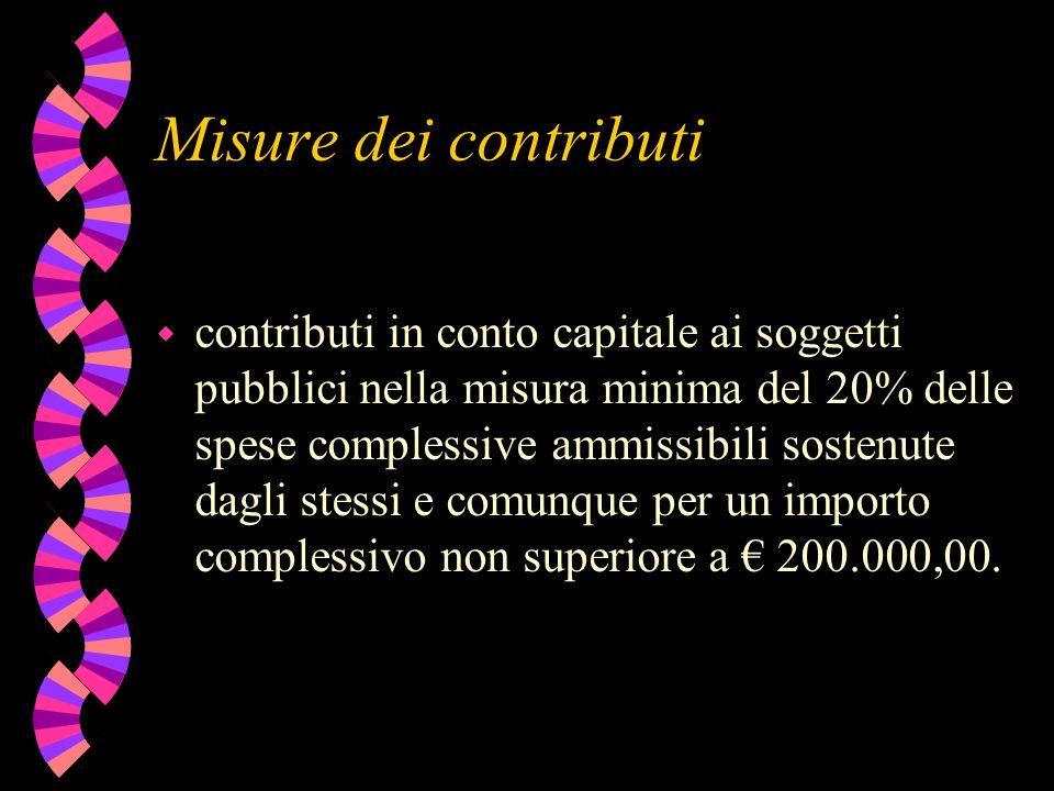 Misure dei contributi w contributi in conto capitale ai soggetti pubblici nella misura minima del 20% delle spese complessive ammissibili sostenute dagli stessi e comunque per un importo complessivo non superiore a 200.000,00.