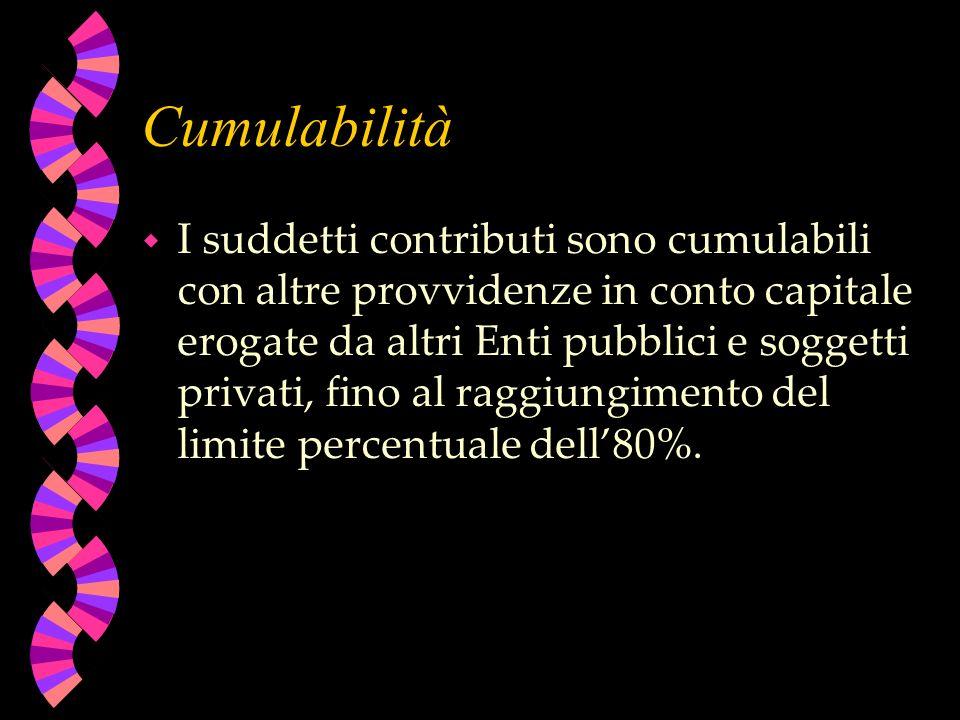 Cumulabilità w I suddetti contributi sono cumulabili con altre provvidenze in conto capitale erogate da altri Enti pubblici e soggetti privati, fino al raggiungimento del limite percentuale dell80%.