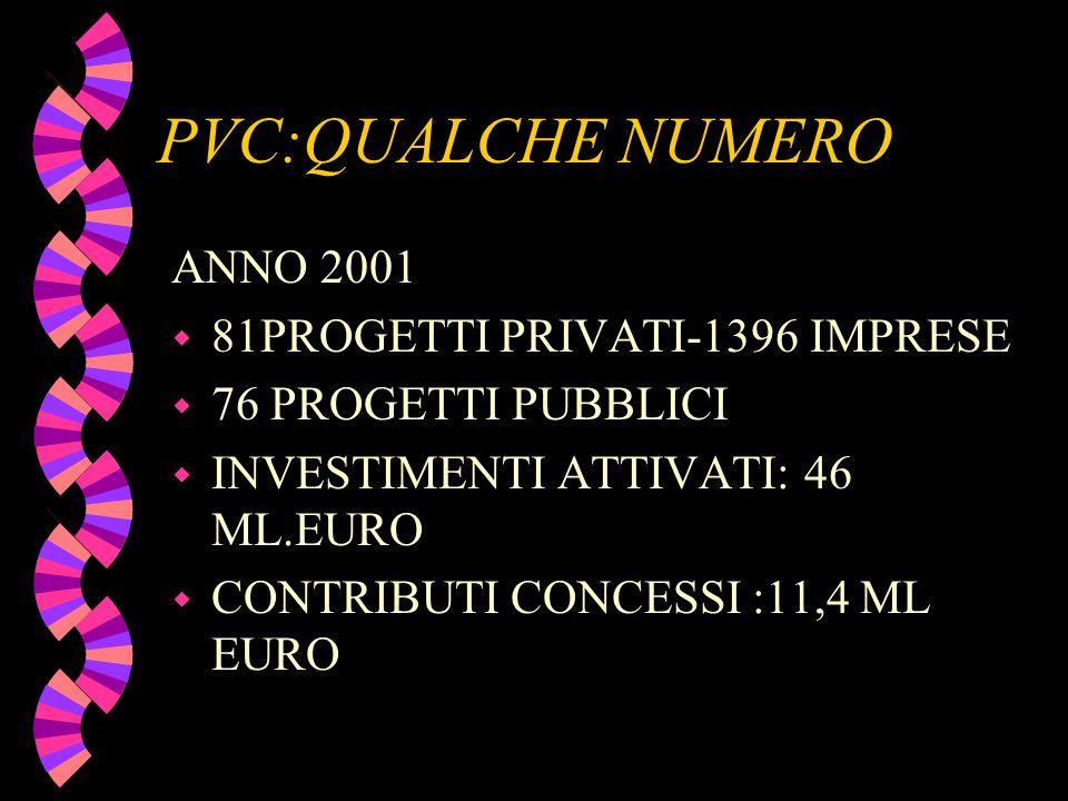 PVC:QUALCHE NUMERO ANNO 2001 w 81PROGETTI PRIVATI-1396 IMPRESE w 76 PROGETTI PUBBLICI w INVESTIMENTI ATTIVATI: 46 ML.EURO w CONTRIBUTI CONCESSI :11,4
