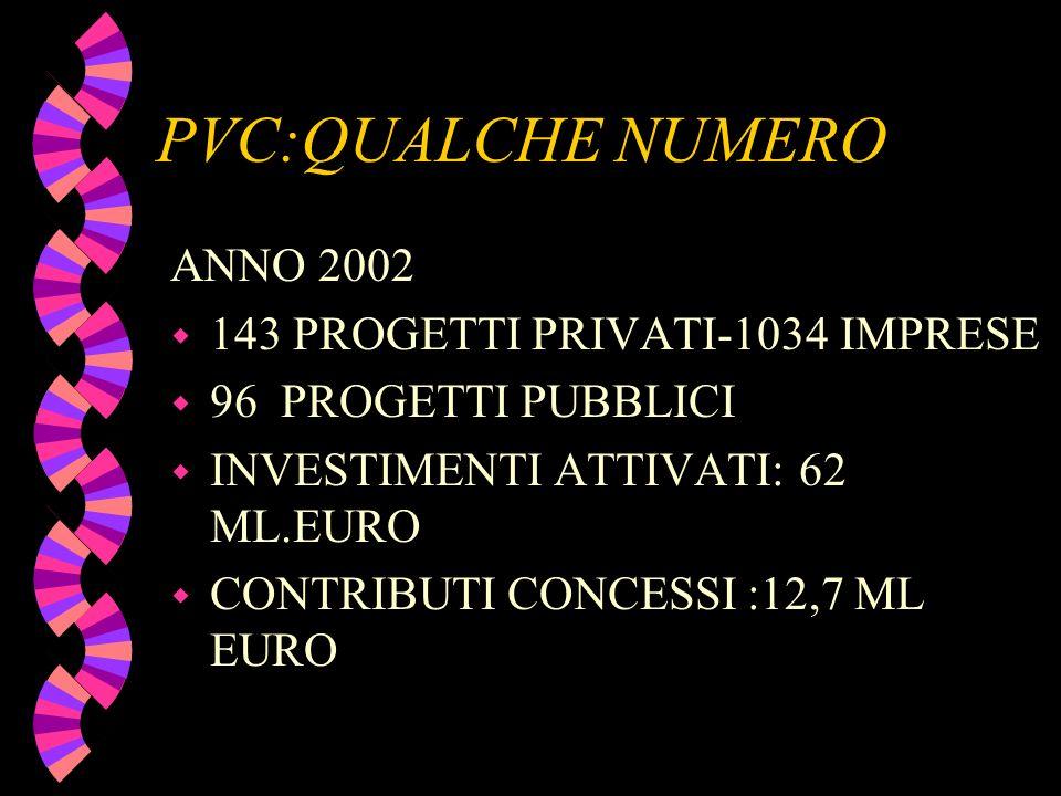 PVC:QUALCHE NUMERO ANNO 2002 w 143 PROGETTI PRIVATI-1034 IMPRESE w 96 PROGETTI PUBBLICI w INVESTIMENTI ATTIVATI: 62 ML.EURO w CONTRIBUTI CONCESSI :12,
