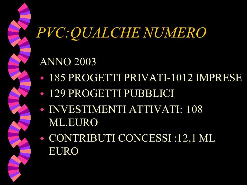 PVC:QUALCHE NUMERO ANNO 2003 w 185 PROGETTI PRIVATI-1012 IMPRESE w 129 PROGETTI PUBBLICI w INVESTIMENTI ATTIVATI: 108 ML.EURO w CONTRIBUTI CONCESSI :1