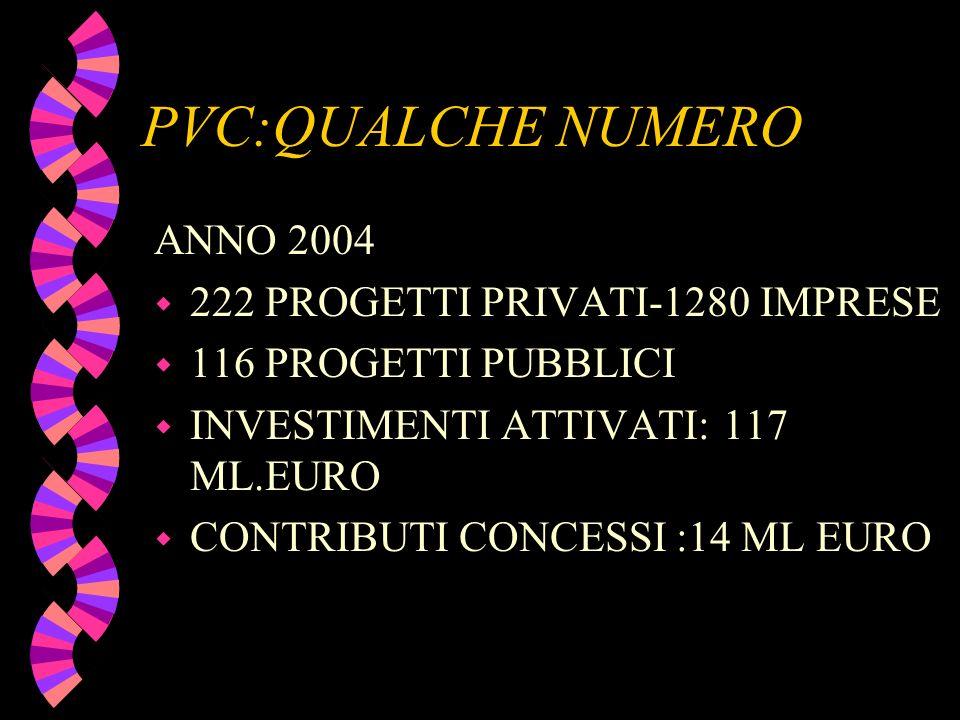 PVC:QUALCHE NUMERO ANNO 2004 w 222 PROGETTI PRIVATI-1280 IMPRESE w 116 PROGETTI PUBBLICI w INVESTIMENTI ATTIVATI: 117 ML.EURO w CONTRIBUTI CONCESSI :14 ML EURO