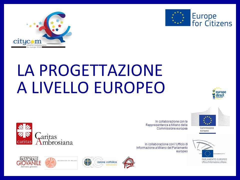 LA PROGETTAZIONE A LIVELLO EUROPEO In collaborazione con lUfficio di Informazione a Milano del Parlamento europeo In collaborazione con la Rappresentanza a Milano della Commissione europea