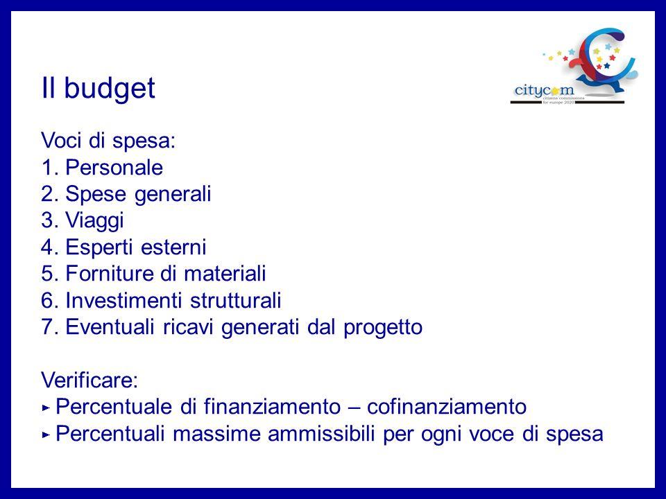 Il budget Voci di spesa: 1.Personale 2. Spese generali 3.