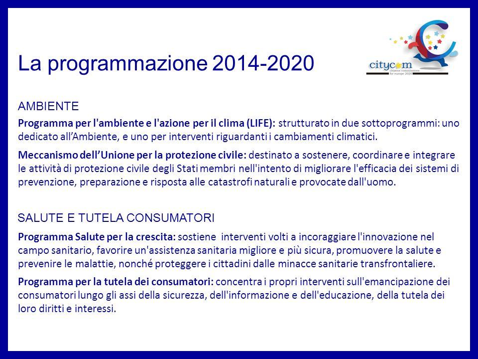 La programmazione 2014-2020 Programma per la competitività delle imprese e le PMI (COSME): si concentra su azioni tese a: 1) migliorare le condizioni per assicurare la competitività e la sostenibilità delle imprese dell UE, anche nel settore del turismo; 2) promuovere l imprenditorialità, anche tra gruppi di destinatari specifici; 3) migliorare l accesso delle PMI ai finanziamenti sotto forma di capitale proprio e di debito; 4) Migliorare l accesso ai mercati sia dellUnione che mondiali.