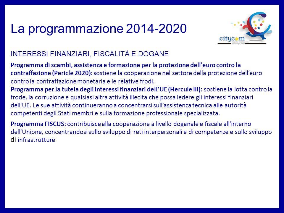 La programmazione 2014-2020 Programma di scambi, assistenza e formazione per la protezione dell euro contro la contraffazione (Pericle 2020): sostiene la cooperazione nel settore della protezione delleuro contro la contraffazione monetaria e le relative frodi.