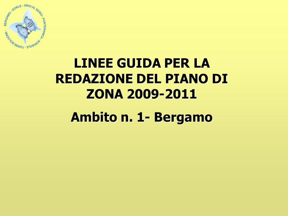 LINEE GUIDA PER LA REDAZIONE DEL PIANO DI ZONA 2009-2011 Ambito n. 1- Bergamo
