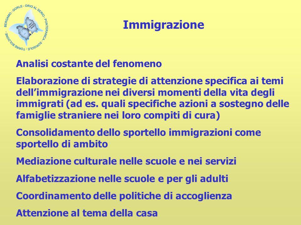 Analisi costante del fenomeno Elaborazione di strategie di attenzione specifica ai temi dellimmigrazione nei diversi momenti della vita degli immigrati (ad es.