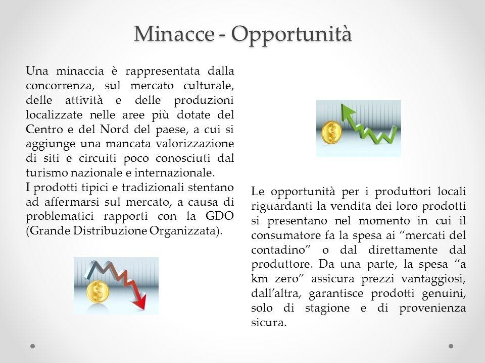 Minacce - Opportunità Una minaccia è rappresentata dalla concorrenza, sul mercato culturale, delle attività e delle produzioni localizzate nelle aree