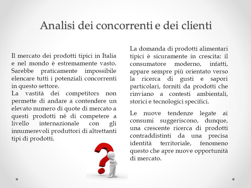 Analisi dei concorrenti e dei clienti Il mercato dei prodotti tipici in Italia e nel mondo è estremamente vasto. Sarebbe praticamente impossibile elen