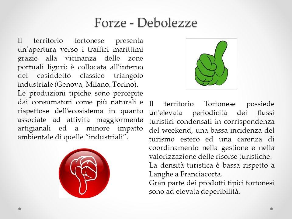 Forze - Debolezze Il territorio tortonese presenta unapertura verso i traffici marittimi grazie alla vicinanza delle zone portuali liguri; è collocata