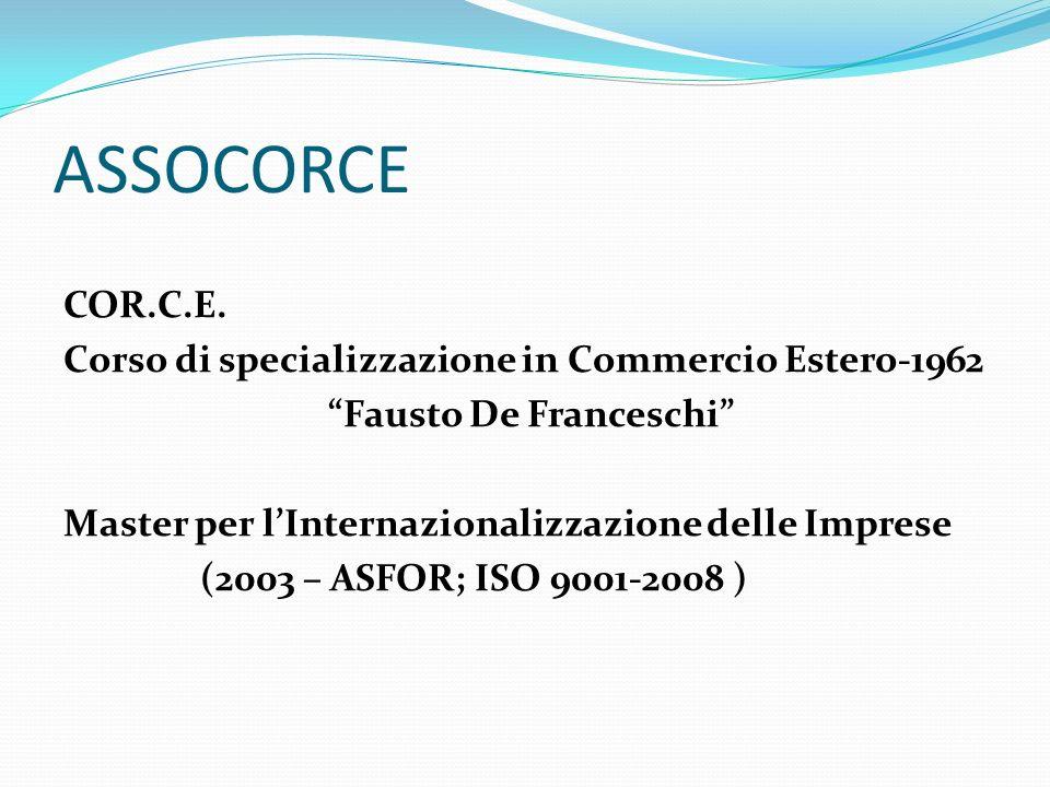 ASSOCORCE COR.C.E. Corso di specializzazione in Commercio Estero-1962 Fausto De Franceschi Master per lInternazionalizzazione delle Imprese (2003 – AS