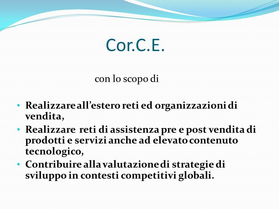 Cor.C.E. con lo scopo di Realizzare allestero reti ed organizzazioni di vendita, Realizzare reti di assistenza pre e post vendita di prodotti e serviz