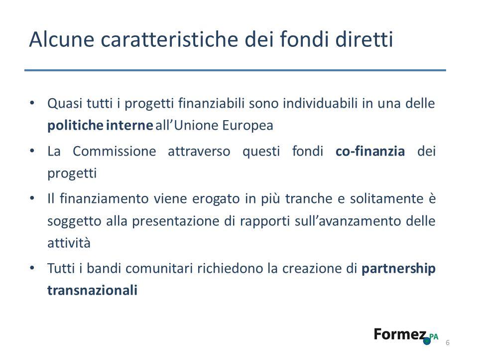 Alcuni Programmi relativi ai fondi diretti – 2007-2013 7 Ambiente Life + (2007-2013) Marco Polo II (2007-2013) Cultura Cultura (2007-2013) Europa per i cittadini (2007-2013) Media 2007 (2007-2013) Capitale europea della cultura (2007- 2019) Energia e Trasporti Galileo (2007-2013) Giustizia, Libertà e Sicurezza Daphne III (2007-2013) Programma quadro Diritti fondamentali e giustizia (2007-2013) Programma quadro Solidarietà e gestione dei flussi migratori (2007-2013) Programma quadro Sicurezza e tutela delle libertà (2007-2013) Ricerca 7° Programma quadro di Ricerca e Sviluppo Tecnologico (2007-2013) 7° Programma quadro Euratom (2007-2013) Occupazione, Affari Sociali e Pari Opportunità Progress (2007-2013)