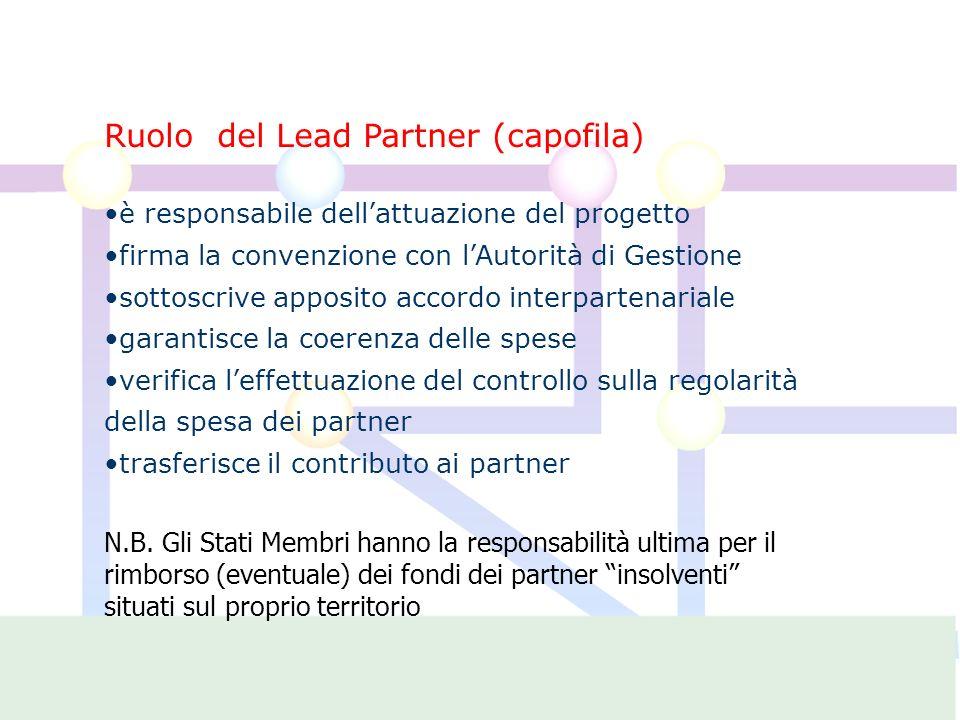 Ruolo del Lead Partner (capofila) è responsabile dellattuazione del progetto firma la convenzione con lAutorità di Gestione sottoscrive apposito accordo interpartenariale garantisce la coerenza delle spese verifica leffettuazione del controllo sulla regolarità della spesa dei partner trasferisce il contributo ai partner N.B.