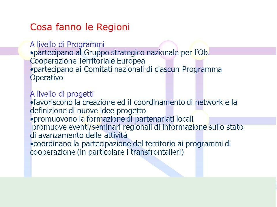Cosa fanno le Regioni A livello di Programmi partecipano al Gruppo strategico nazionale per lOb.