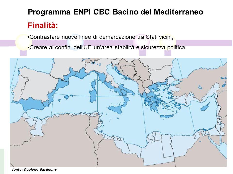 Programma ENPI CBC Bacino del Mediterraneo Finalità: Contrastare nuove linee di demarcazione tra Stati vicini; Creare ai confini dellUE unarea stabilità e sicurezza politica.