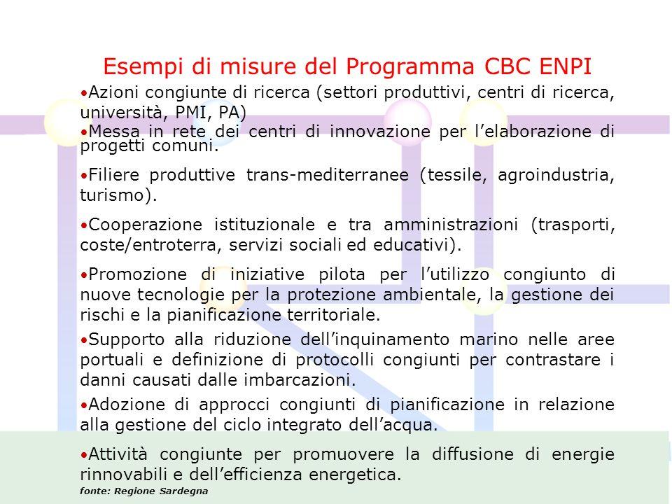 Esempi di misure del Programma CBC ENPI Azioni congiunte di ricerca (settori produttivi, centri di ricerca, università, PMI, PA) Messa in rete dei centri di innovazione per lelaborazione di progetti comuni.