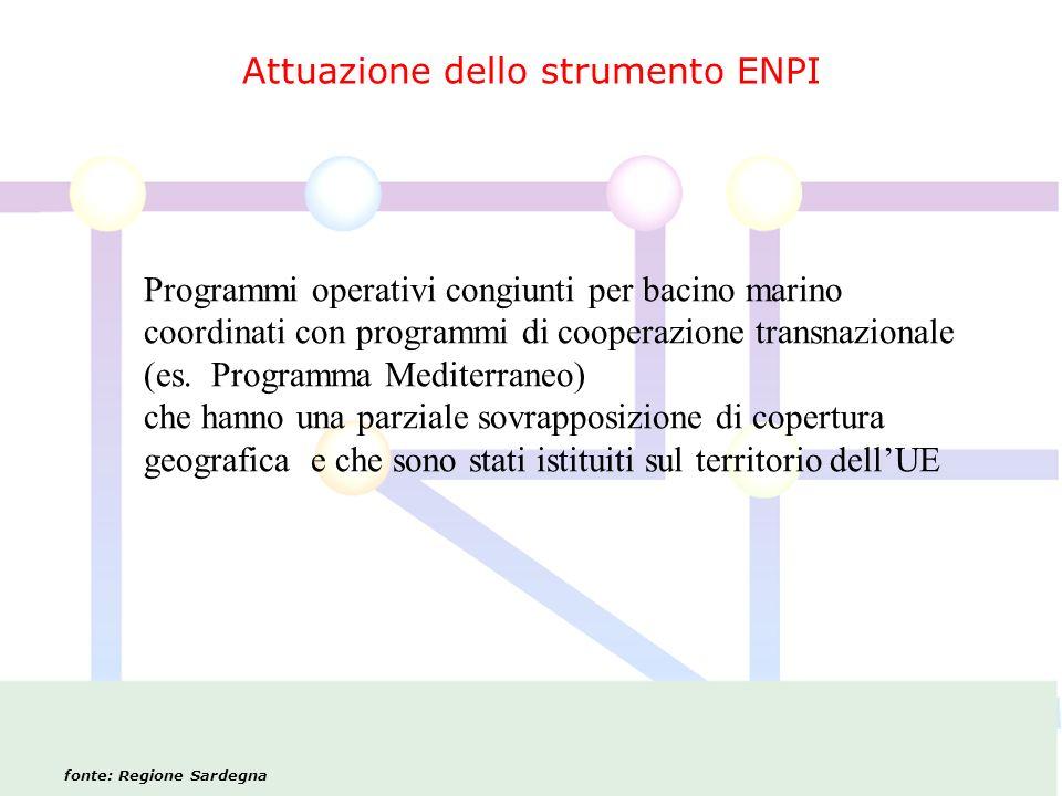 Attuazione dello strumento ENPI fonte: Regione Sardegna Programmi operativi congiunti per bacino marino coordinati con programmi di cooperazione transnazionale (es.