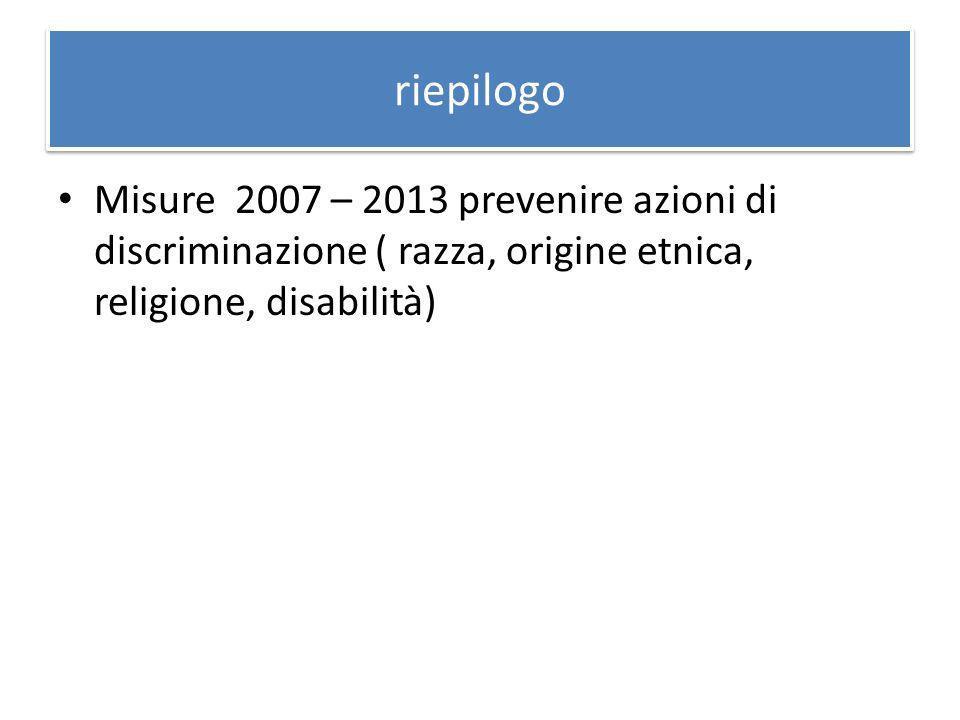 riepilogo Misure 2007 – 2013 prevenire azioni di discriminazione ( razza, origine etnica, religione, disabilità)