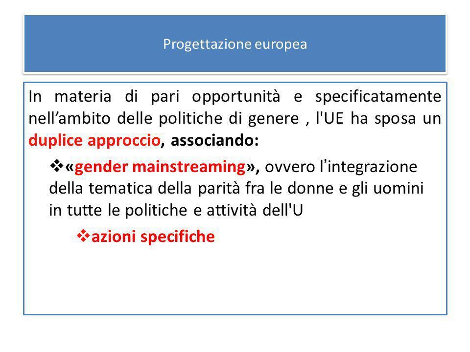 Progettazione europea In materia di pari opportunità e specificatamente nellambito delle politiche di genere, l UE ha sposa un duplice approccio, associando: «gender mainstreaming», ovvero lintegrazione della tematica della parità fra le donne e gli uomini in tutte le politiche e attività dell U azioni specifiche