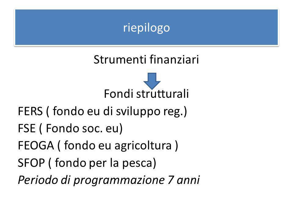 riepilogo Strumenti finanziari Fondi strutturali FERS ( fondo eu di sviluppo reg.) FSE ( Fondo soc.