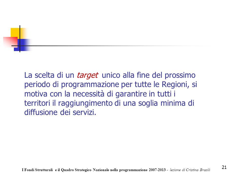 21 La scelta di un target unico alla fine del prossimo periodo di programmazione per tutte le Regioni, si motiva con la necessità di garantire in tutti i territori il raggiungimento di una soglia minima di diffusione dei servizi.