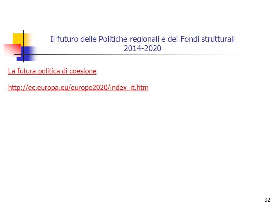 32 Il futuro delle Politiche regionali e dei Fondi strutturali 2014-2020 La futura politica di coesione http://ec.europa.eu/europe2020/index_it.htm