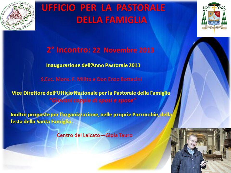 18 UFFICIO PER LA PASTORALE DELLA FAMIGLIA DELLA FAMIGLIA 2° Incontro: 22 Novembre 2013 Inaugurazione dellAnno Pastorale 2013 S.Ecc. Mons. F. Milito e