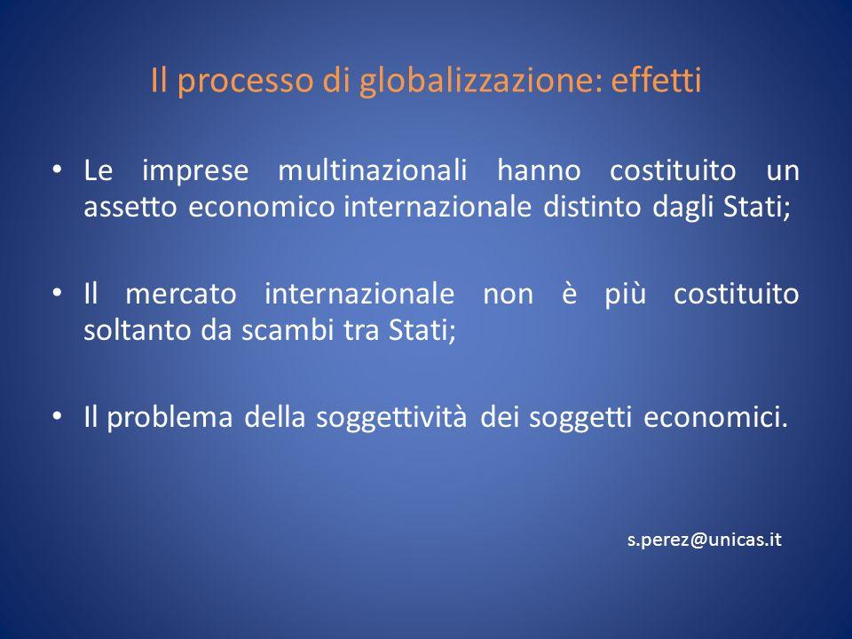 Il processo di globalizzazione: effetti Le imprese multinazionali hanno costituito un assetto economico internazionale distinto dagli Stati; Il mercato internazionale non è più costituito soltanto da scambi tra Stati; Il problema della soggettività dei soggetti economici.