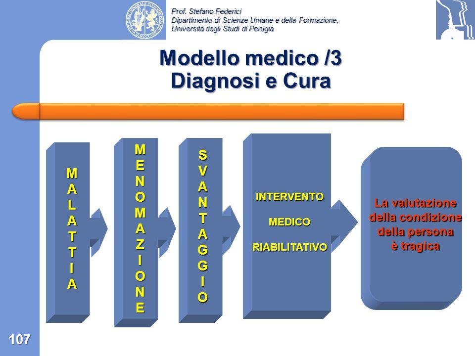 Prof. Stefano Federici Dipartimento di Scienze Umane e della Formazione, Università degli Studi di Perugia Modello medico /2 definizioni e conseguenze