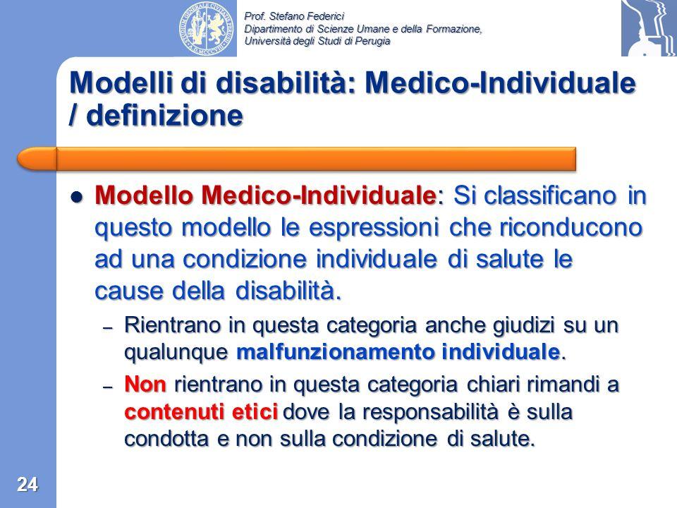 Prof. Stefano Federici Dipartimento di Scienze Umane e della Formazione, Università degli Studi di Perugia Modello religioso …è disabile… Modello reli