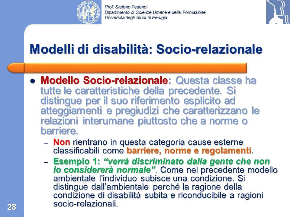 Prof. Stefano Federici Dipartimento di Scienze Umane e della Formazione, Università degli Studi di Perugia Modello ambientale …è disabile… Modello amb