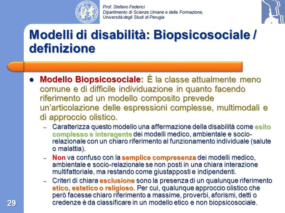 Prof. Stefano Federici Dipartimento di Scienze Umane e della Formazione, Università degli Studi di Perugia Modello Socio-relazionale: Questa classe ha