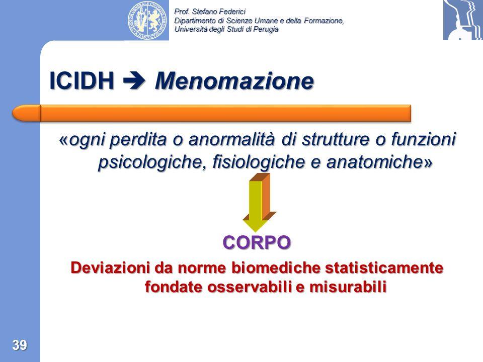 Prof. Stefano Federici Dipartimento di Scienze Umane e della Formazione, Università degli Studi di Perugia «Handicap may result from impairment withou
