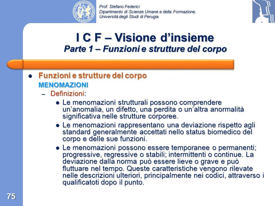 Prof. Stefano Federici Dipartimento di Scienze Umane e della Formazione, Università degli Studi di Perugia I C F – Visione dinsieme Suddivisione gener