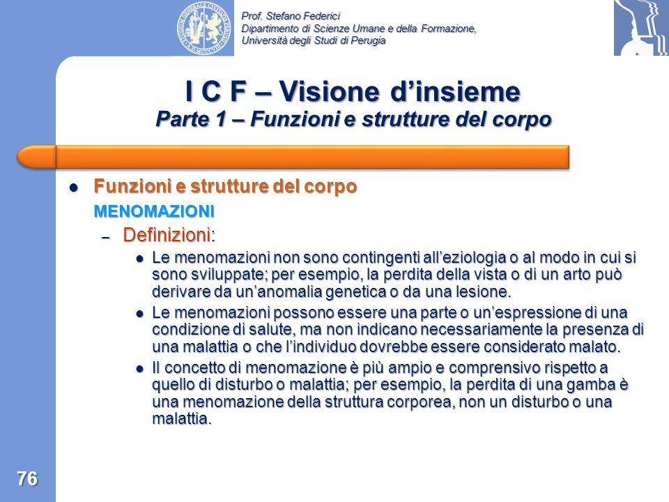 Prof. Stefano Federici Dipartimento di Scienze Umane e della Formazione, Università degli Studi di Perugia I C F – Visione dinsieme Parte 1 – Funzioni