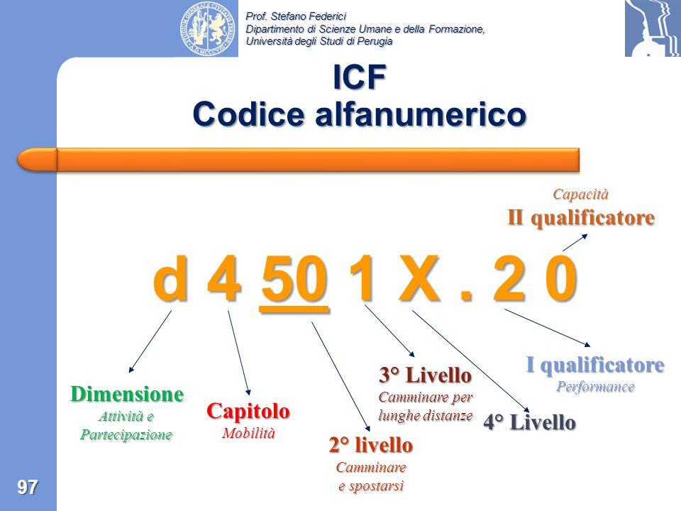 Prof. Stefano Federici Dipartimento di Scienze Umane e della Formazione, Università degli Studi di Perugia ICF Qualificatori 96