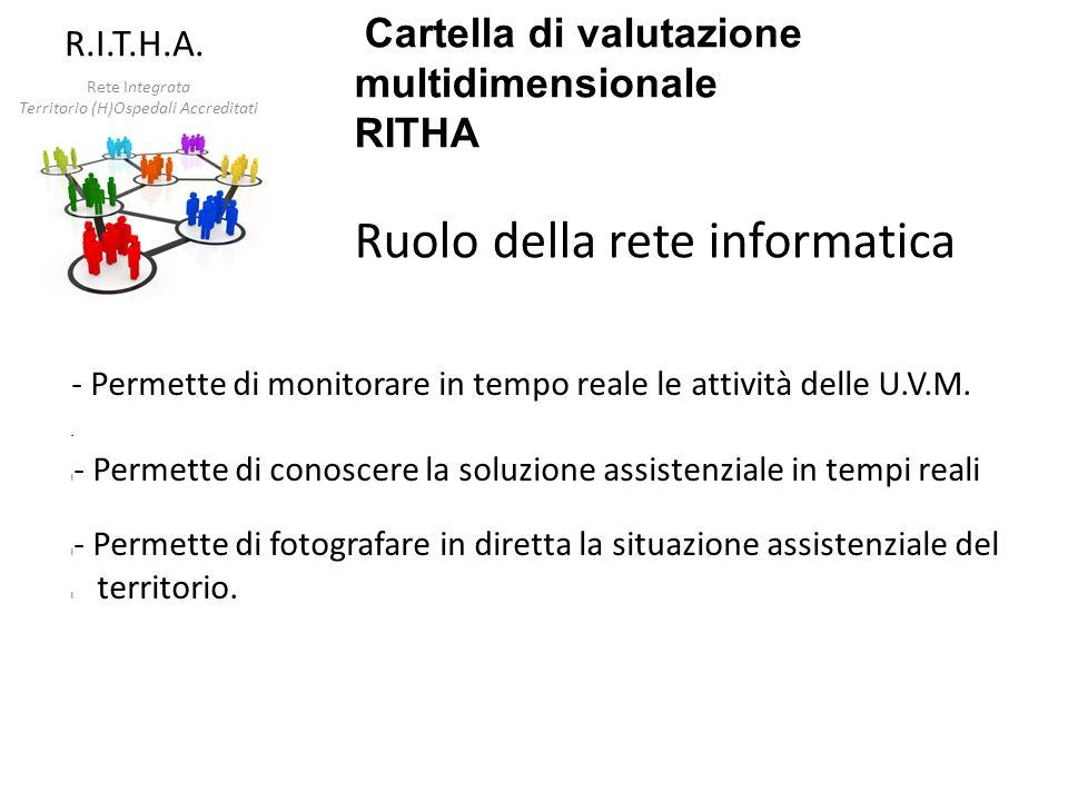 Cartella di valutazione multidimensionale RITHA Ruolo della rete informatica - Permette di monitorare in tempo reale le attività delle U.V.M. - l - Pe