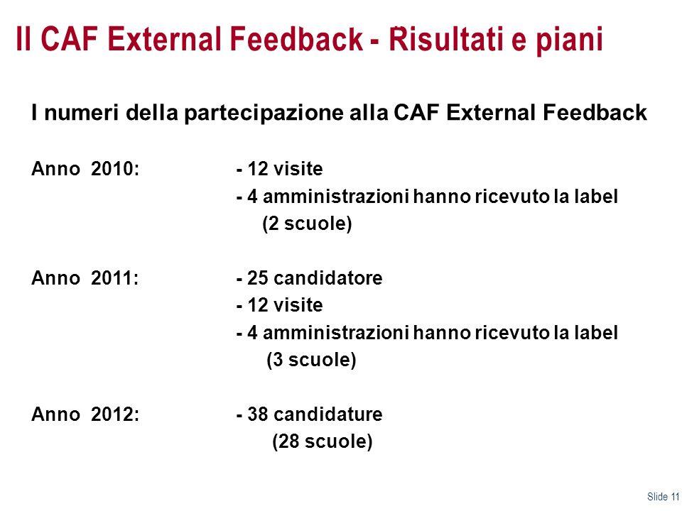 Il CAF External Feedback - Risultati e piani I numeri della partecipazione alla CAF External Feedback Anno 2010: - 12 visite - 4 amministrazioni hanno