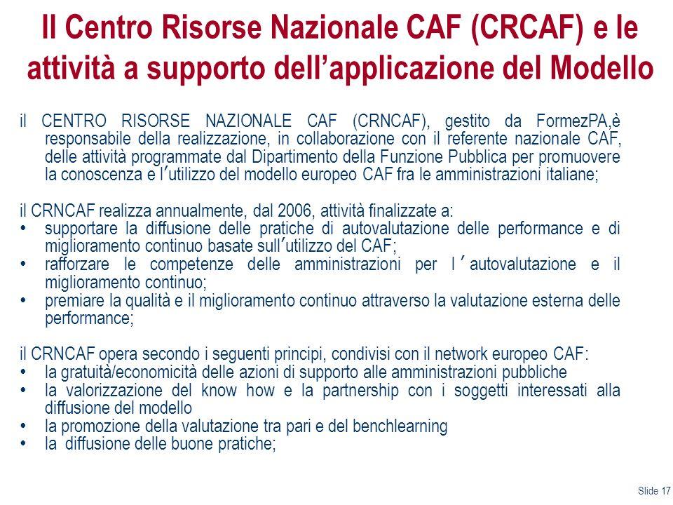 Il Centro Risorse Nazionale CAF (CRCAF) e le attività a supporto dellapplicazione del Modello il CENTRO RISORSE NAZIONALE CAF (CRNCAF), gestito da For