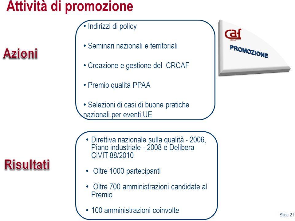 Slide 21 TERZO EVENTO NAZIONALE CAF Indirizzi di policy Seminari nazionali e territoriali Creazione e gestione del CRCAF Premio qualità PPAA Selezioni