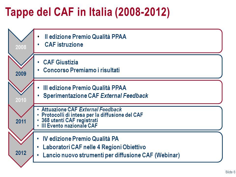Il Centro Risorse Nazionale CAF (CRCAF) e le attività a supporto dellapplicazione del Modello il CENTRO RISORSE NAZIONALE CAF (CRNCAF), gestito da FormezPA,è responsabile della realizzazione, in collaborazione con il referente nazionale CAF, delle attività programmate dal Dipartimento della Funzione Pubblica per promuovere la conoscenza e lutilizzo del modello europeo CAF fra le amministrazioni italiane; il CRNCAF realizza annualmente, dal 2006, attività finalizzate a: supportare la diffusione delle pratiche di autovalutazione delle performance e di miglioramento continuo basate sullutilizzo del CAF; rafforzare le competenze delle amministrazioni per lautovalutazione e il miglioramento continuo; premiare la qualità e il miglioramento continuo attraverso la valutazione esterna delle performance; il CRNCAF opera secondo i seguenti principi, condivisi con il network europeo CAF: la gratuità/economicità delle azioni di supporto alle amministrazioni pubbliche la valorizzazione del know how e la partnership con i soggetti interessati alla diffusione del modello la promozione della valutazione tra pari e del benchlearning la diffusione delle buone pratiche; Slide 17