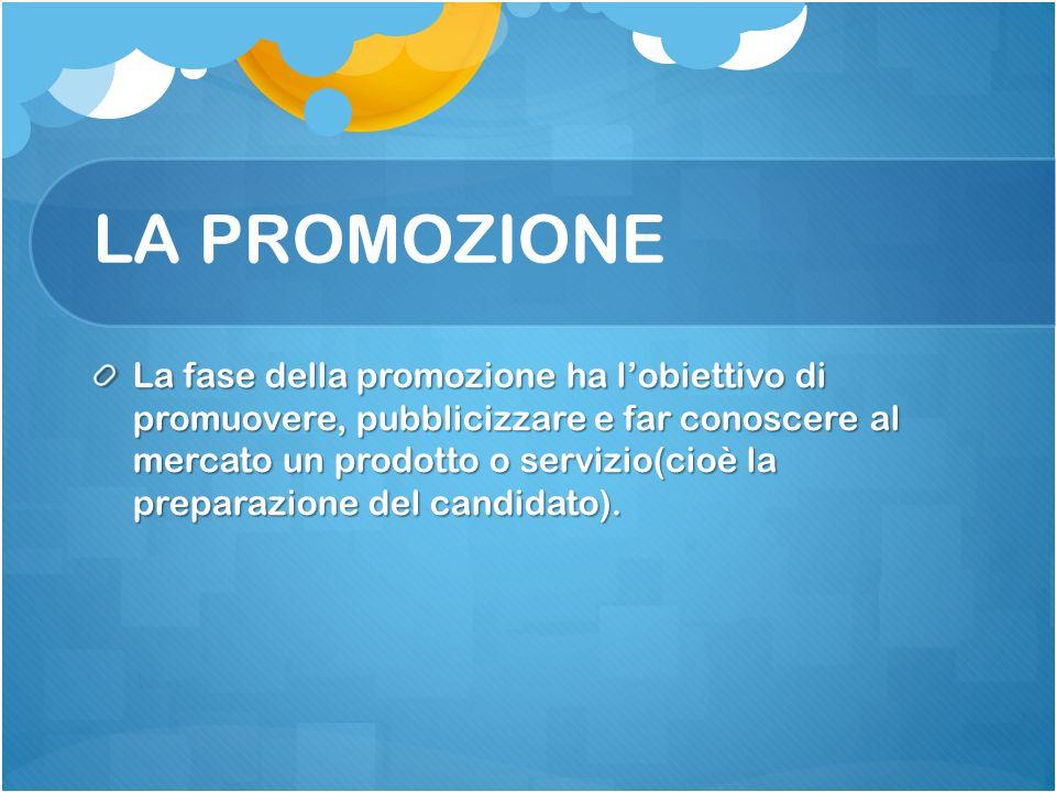 LA PROMOZIONE La fase della promozione ha lobiettivo di promuovere, pubblicizzare e far conoscere al mercato un prodotto o servizio(cioè la preparazione del candidato).