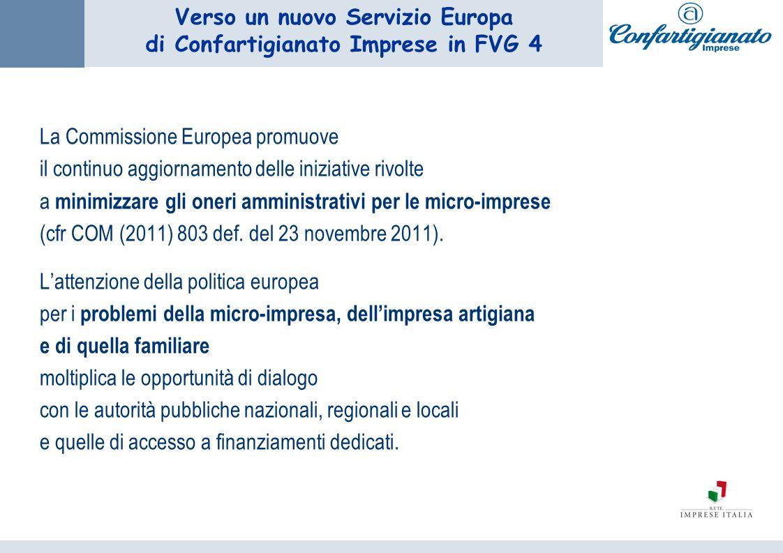 Verso un nuovo Servizio Europa di Confartigianato Imprese in FVG 4 La Commissione Europea promuove il continuo aggiornamento delle iniziative rivolte a minimizzare gli oneri amministrativi per le micro-imprese (cfr COM (2011) 803 def.