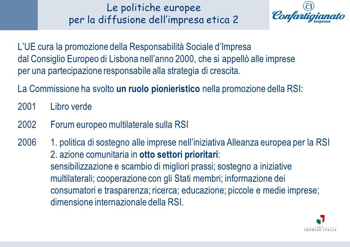 Le politiche europee per la diffusione dellimpresa etica 2 LUE cura la promozione della Responsabilità Sociale dImpresa dal Consiglio Europeo di Lisbona nellanno 2000, che si appellò alle imprese per una partecipazione responsabile alla strategia di crescita.