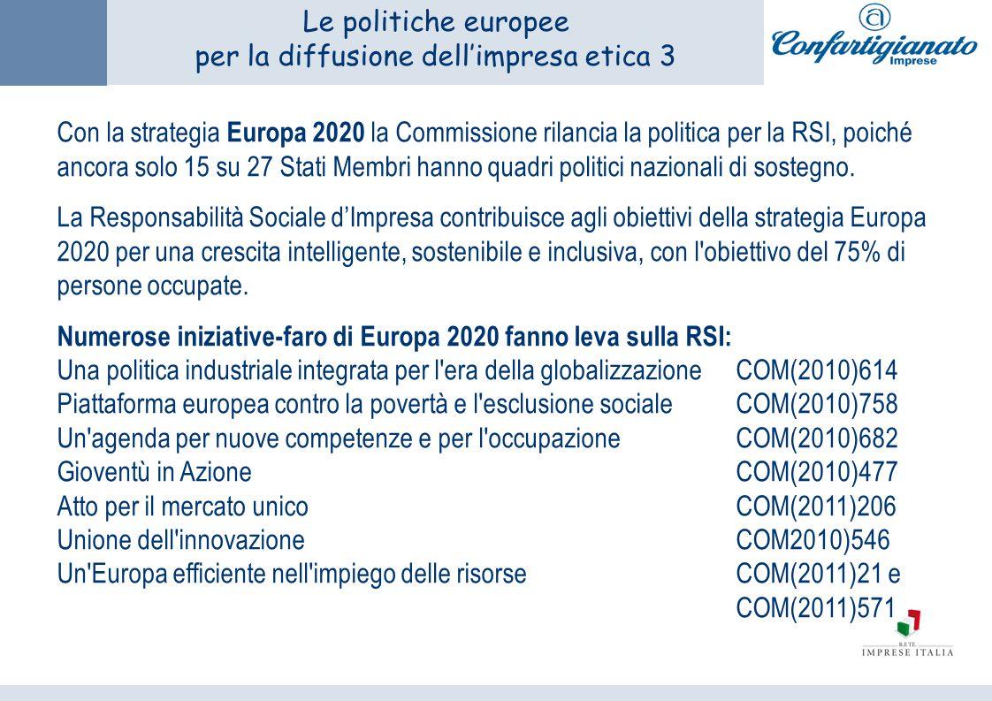 Le politiche europee per la diffusione dellimpresa etica 3 Con la strategia Europa 2020 la Commissione rilancia la politica per la RSI, poiché ancora solo 15 su 27 Stati Membri hanno quadri politici nazionali di sostegno.