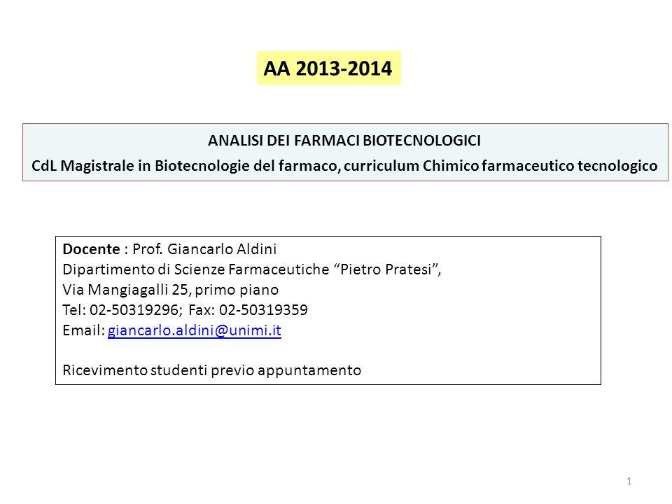 1 ANALISI DEI FARMACI BIOTECNOLOGICI CdL Magistrale in Biotecnologie del farmaco, curriculum Chimico farmaceutico tecnologico Docente : Prof. Giancarl