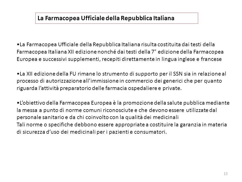 13 La Farmacopea Ufficiale della Repubblica Italiana La Farmacopea Ufficiale della Repubblica Italiana risulta costituita dai testi della Farmacopea I